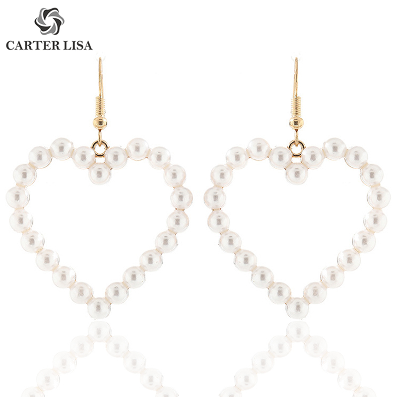 CARTER LISA Lovely Vintage Pearl Mermaid Heart Big Drop Dangle Statement Earings For Women Boho Fashion Jewelry Pendientes