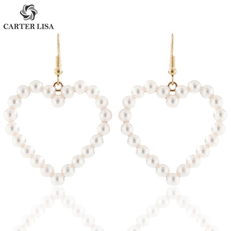 CARTER LISA Lovely Vintage Pearl Mermaid Heart Big Drop Dangle Statement Earings For Women Boho Fashion Jewelry Pendientes