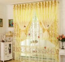 Fashion Modern Lace Curtain Pink Yellow Purple Bedroom Curtains Window Living Room