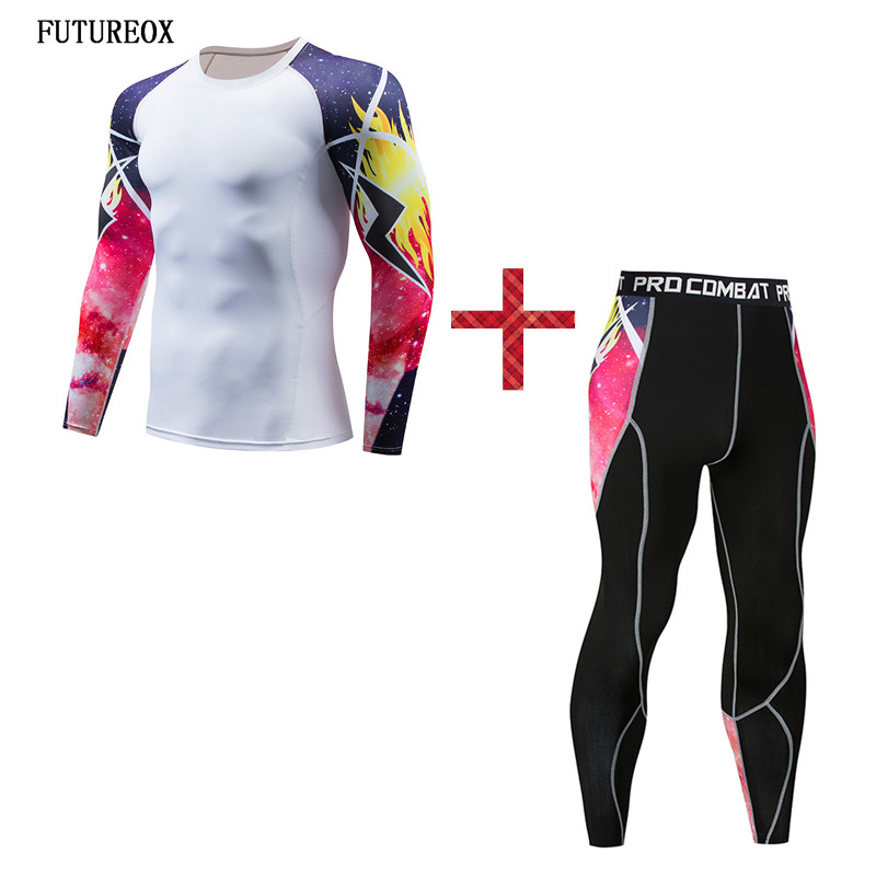 New Compressed Shirt Trousers 3D Print Personality Lightning Men's Set Fitness Bodybuilding Perspiration Quick-drying Tops Gear