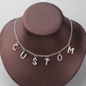Персонализированное ожерелье, стиль Харадзюку, хрустальное ожерелье ангела, на заказ, оригинальные буквы, имя, подвеска, чокер, на заказ, жен...