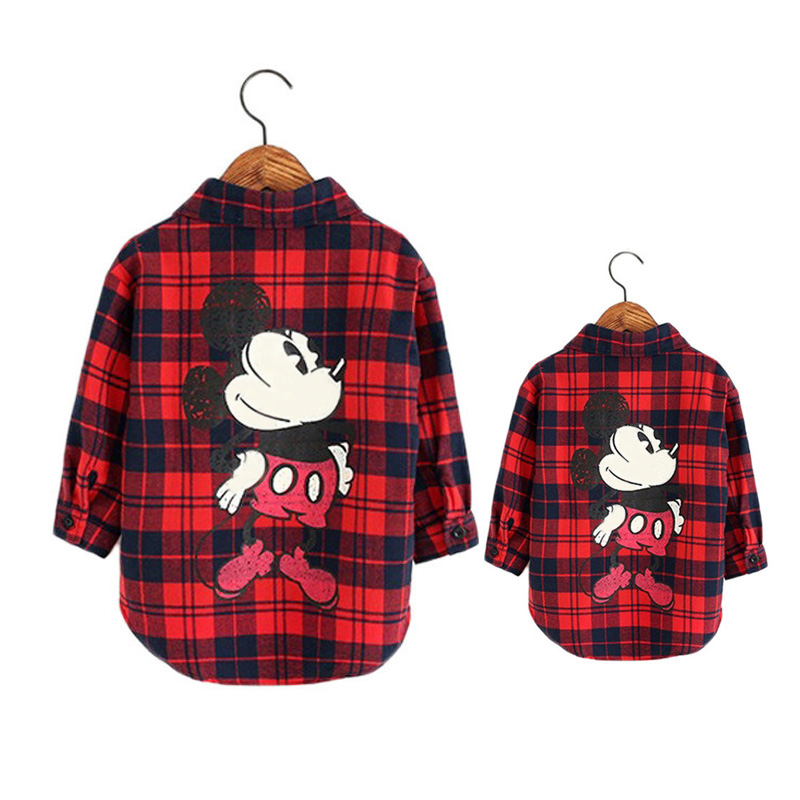 Dulce Amor Family Matching Clothes Mommy And Me Red Black Plaid Shirt Autumn Winter Mickey Mother Kid Shirt Tops Family Look