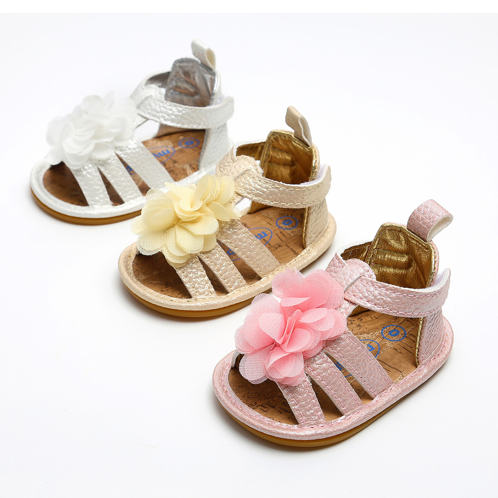 Baby Girl Summer Sandals PU Anti-Slip Rubber Sole Lace Flower Princess Crib Newborn First Walker Shoes Flat Light Weight