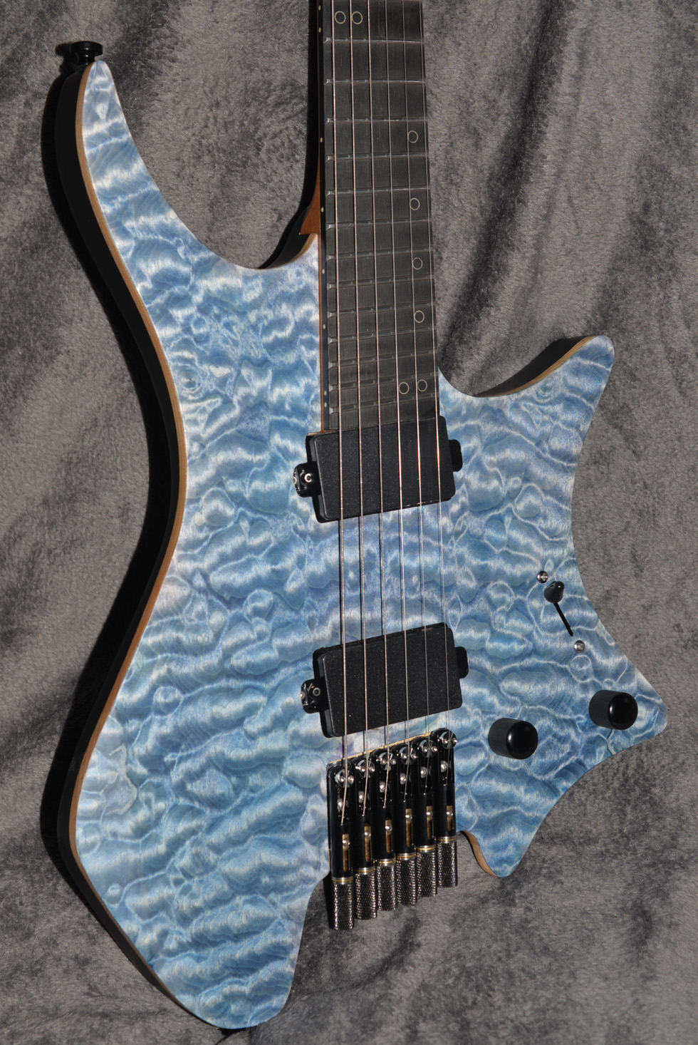 2019 NK Headless guitar Fanned Frets Electric guitar blue Roasted Flame Maple top Flame maple Neck Guitar free shipping