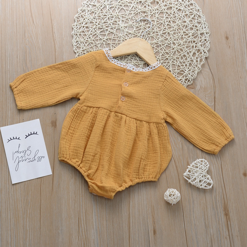 2019 Autumn Baby Girls   Rompers   Long Sleeve Baby   Rompers   Yellow Pink Baby Girls Clothes Cotton Linen Lace Hollow Newborn Paysuit