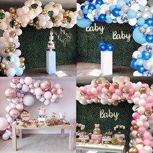 Kit de arco de guirnalda de globos, 16 pies, Rosa largo, oro blanco, látex, paquete de globos de aire para baby shower, boda, cumpleaños, adornos fiestas