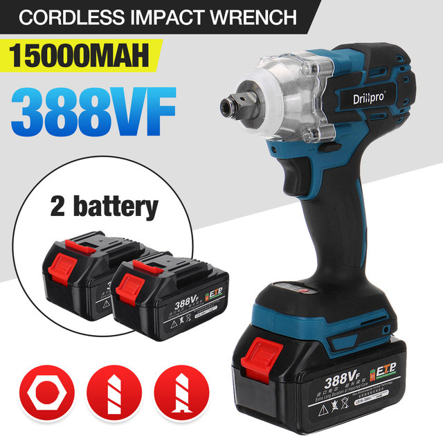 388vf Brushless Cordless Electric Impact Wrench Power Tools with 15000Amh Li Battery +LED light Adapt to Makita 18V Battery
