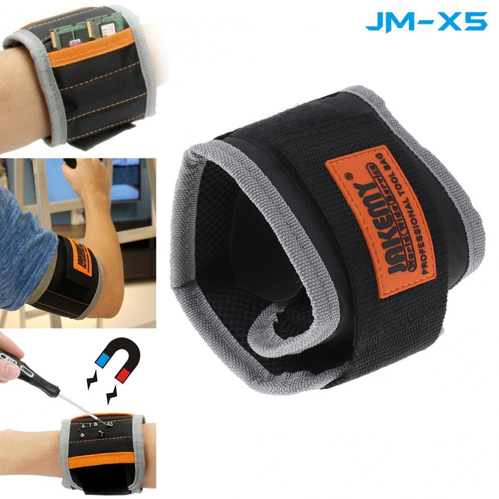JAKEMY JM-X5 Magnetic Wrist-band Bracelet Belt Repair Tool Pocket For Holding Screw Nail / Drill Bit