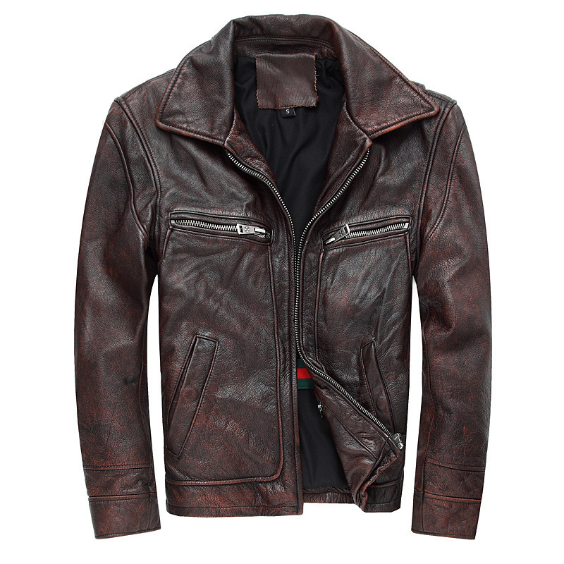 2020 New Men Retro Vintage Maroon Genuine Leather Jacket Fashion Motorcycle Leather Jackets Cowskin Winter Coats