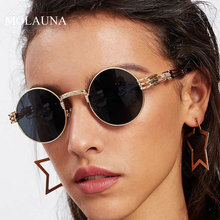 MOLAUNA Small Round Sunglasses Women Brand Designer Steampunk Sun Glasses Fashion Mirror Shades Glasses Oculos De Sol UV400 molauna round sunglasses women brand designer retro sun glasses for women fashion mirror shades female glasses oculos de sol