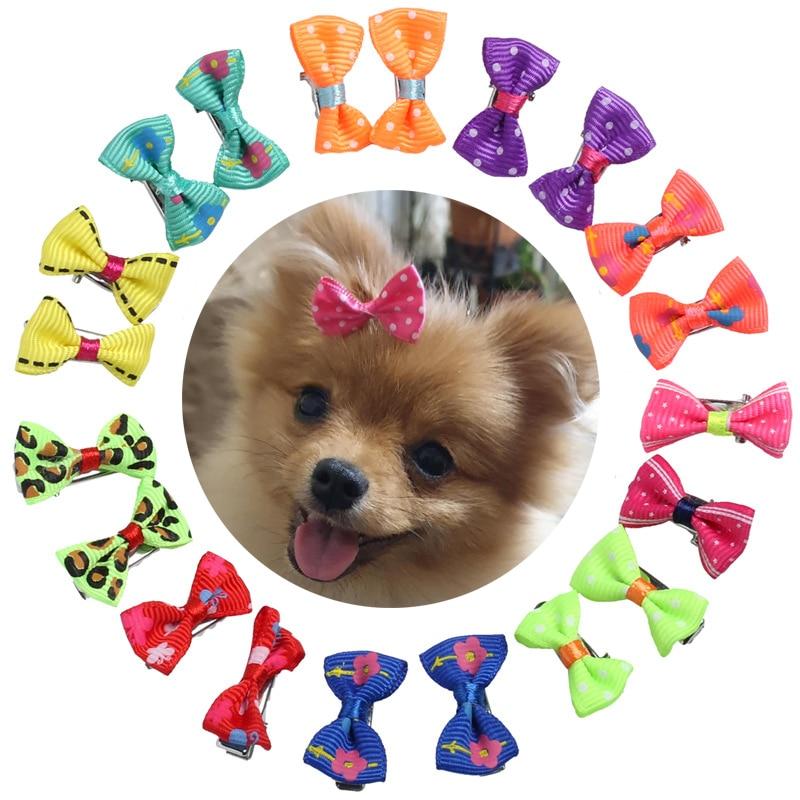 20 Pcs Small Dog Bows Hair Grooming Puppy Dog Cat Hair Clips Handmade Dog Accessories Hair