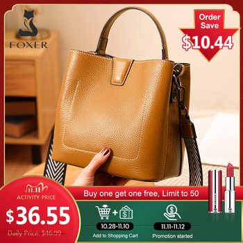 FOXER Classical Winter Totes Genuine Leather Crossbody Shoulder Bags Women Handbags Lady Messenger Purse Girl's Chic Handle Bag foxer brands leather women handbags luxury totes new design women bag fashion lady messenger bags shoulder bag for female