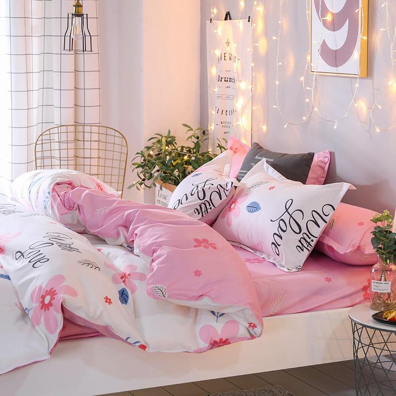 Liv Esthete Fashion Art Flower Pink Bedding Set Soft Printed Duvet Cover Pillowcase Double Queen King Bed Linen Flat Sheet in Bedding Sets from Home Garden
