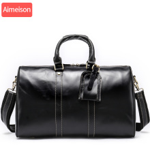 Aimeison Men leather travel bag men leather briefcase male laptop bags men's genuine leather bag office bags for men travel bag