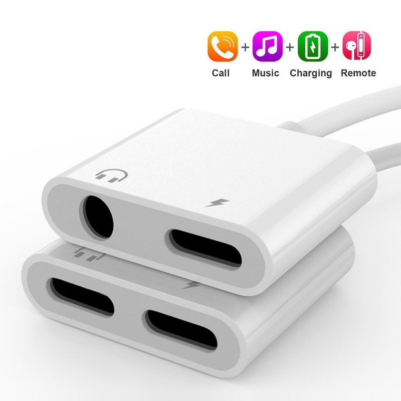 For IPhone Adapter 2 In 1 For Apple IPhone 11 Pro XS MAX XR X 7 8 Plus IOS 12 3.5mm Jack Earphone Adapter Aux Cable Splitter
