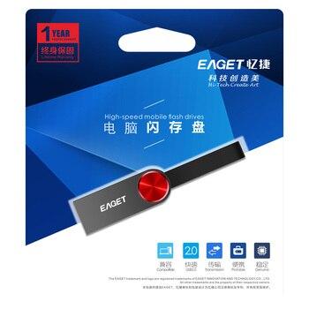Eaget USB 2.0 Flash Drive 32GB Metal Case Pen Drive Super Mini Pendrive Waterproof USB Key Flash Memory Stick For Car & Computer