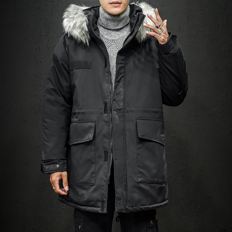 2019 New Men Winter Jackets Hooded Fur Collar Thick   Parkas   Windproof Warm   Parka   Coat Men Medium-long Mens Overcoat ABZ587