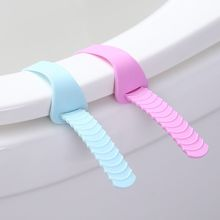 2Pcs Silicone Foldable Adjustable Sanitary Potty Toilet Lifter Band Cover Belt Mention Toilet Seat Lifters Closestool Handle