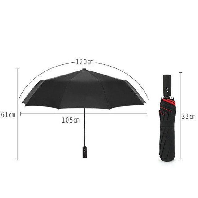 Double Layer Windproof Women's Automatic Umbrella Female Male Ten Bone Three Folding  Men's Umbrella Large Rain Business Parasol 6