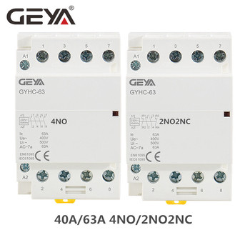цена на GEYA 4P 63A 4NO or 2NC2NO 220V/230V 50/60HZ Din Rail Household AC Modular Contactor