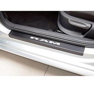 Image 3 - Auto Instaplijsten Plaat Koolstofvezel Scuff Sticker Instaplijsten Stickers Voor Dodge Ram Decoratie Anti Kras Scuff Auto Accessoires