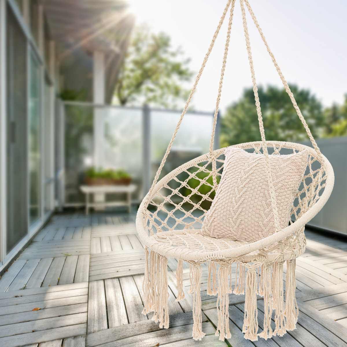 hamac rond chaise exterieure dortoir interieur chambre cour pour enfant adulte balancoire suspendu unique chaise de securite hamac
