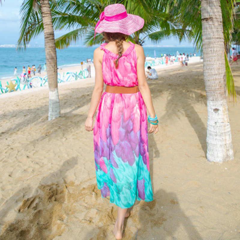 Boho letnia sukienka kobiety ubrania 2019 Vintage szyfon w kwiaty drukuj plaża długie sukienki elegancka damska maksi sukienka 8803N106
