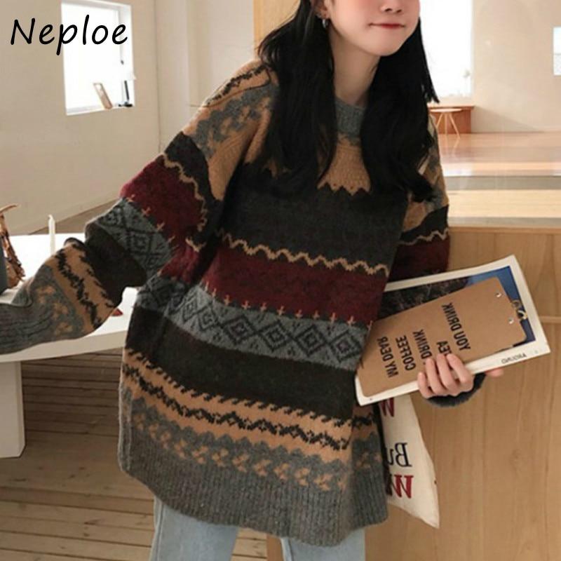 Свитер Neploe женский с винтажным принтом, пуловер с круглым вырезом и длинным рукавом, свободная теплая верхняя одежда, осень-зима 2020