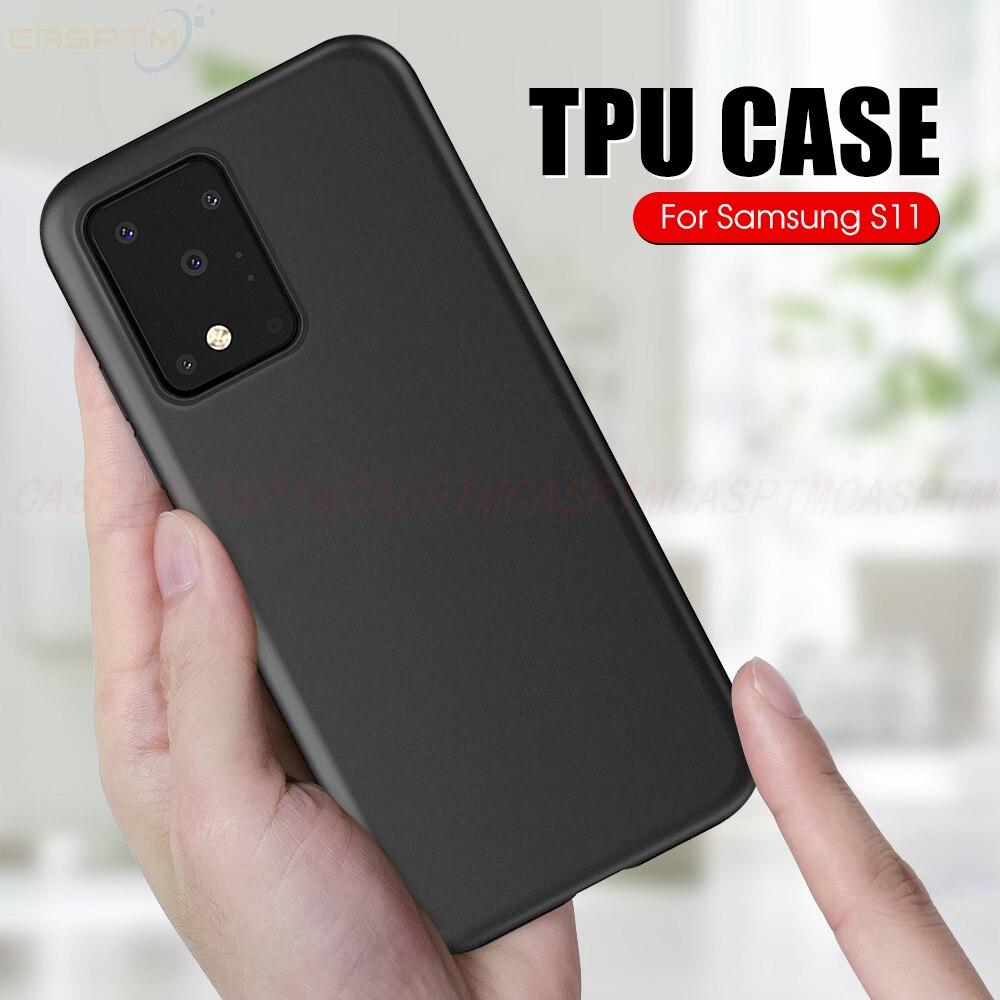 กรณี TPU นุ่มสำหรับ Samsung Galaxy S11 PLUS S10 M30s สีดำด้านหลังสำหรับ Samsung A30 A50 A51 a71 S11E ซิลิโคน Funda