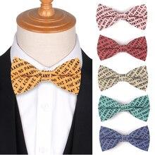 Хлопок мужчины галстук-бабочку Боути свободного покроя футболки для женщин печать письмо взрослых галстуки галстуки свадебные галстуки регулируемая бантом
