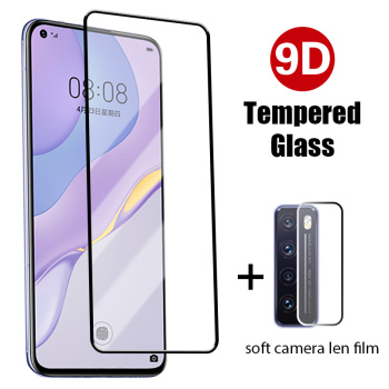 9D Black Front Glass + Back Camera Len Film for Huawei P30 Lite P40 Lite P20 Pro Screen Protector for Huawei P Smart 2019 S Z image