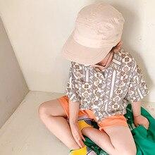 2-9T Summer Floral Boy Shirt Toddler Kid Baby Clothes Short Sleeve Flower Print Beach Shirt Fashion Top Loose Gentleman Outfit