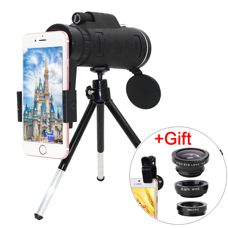 HD 40X lens DSLR Optical Zoom Camera Telescope With Clip Universal extension Lens Mobile Phone + Fisheye Wide Angle Macro Lens|Mobile Phone Lens| |  - title=