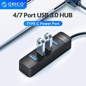 Moyeu ORICO 4 ports USB 3.0 avec Port d'alimentation de Type C pour ordinateur portable accessoires répartiteur USB ABS adaptateur USB3.0 OTG