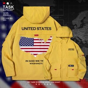 Estados unidos da américa eua masculino jaqueta com capuz mapa bandeira da nação impresso jaquetas nova trench coat masculino roupas superiores outono