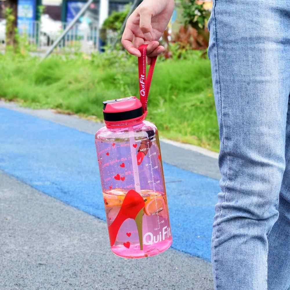 QuiFit 2L 1.3L 450ml botella de agua Tritan de medio galón con paja BPA libre mis botellas de bebida batidor de proteínas portátil deportes gimnasio jarra