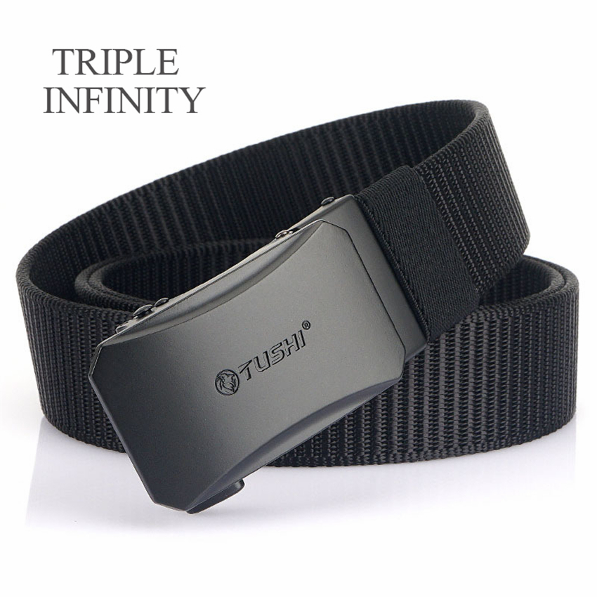 TRIPLE INFINITY 2021 Thick Nylon Men Belt Casual Outdoor Tactical Belt For Jeans Pants Durable Metal Automatic Buckle Male Belt