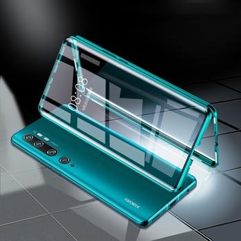 Перейти на Алиэкспресс и купить Магнитный чехол для Xiaomi Mi Note 10 Pro, двойной боковой стеклянный бампер, ударопрочный чехол для Xiaomi Mi Note 10 CC9 Pro, чехол