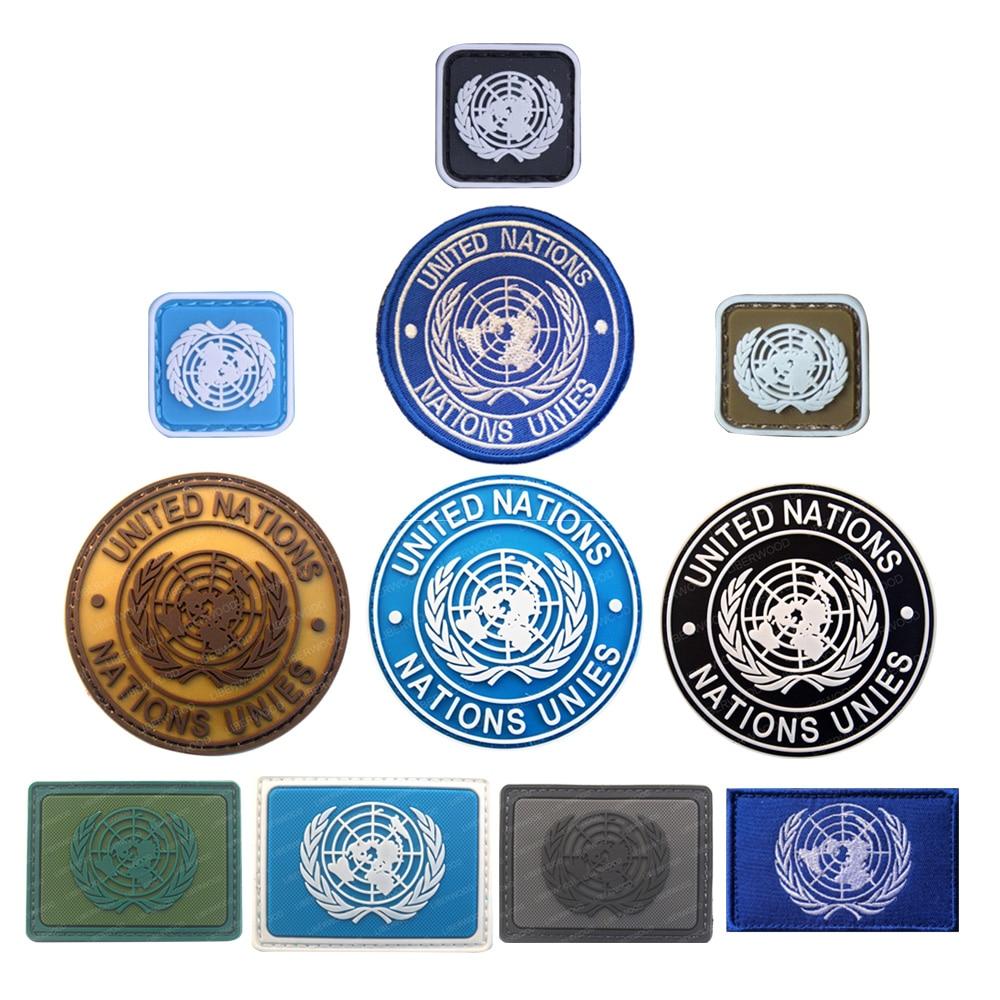 Badge Pvc Tactical Army Airsoft Hook Loop Patch Circle Un United Nations U.N