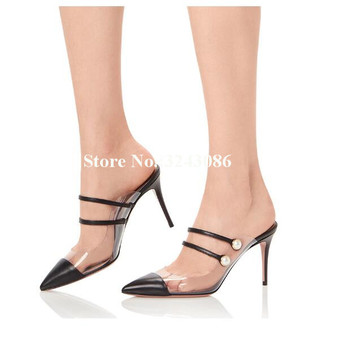 New Style PVC Leather Pearl Stiletto Heel Sandals Women Fashion Pointed Toe Strappy High Heel Slippers Lady Casual Shoes