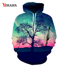 New Mens Womens 3D Hoodies Sweatshirt Fashion Twilight Tree Graphic Print Casual Pullover Tracksuit Couples Tops