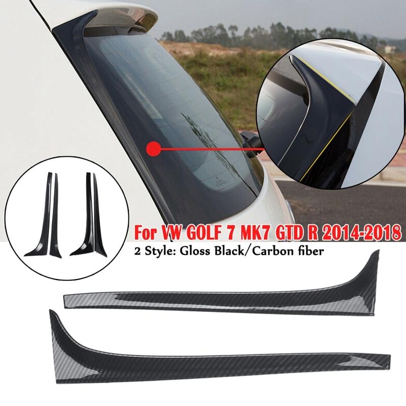 Gloss Black Carbon Fibe Rear Window Side Spoiler Wing For GOLF 7 MK7 GTD R 2014-2018 Car-styling Auto Rear Window Mirror Tail