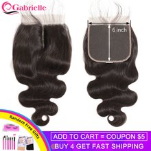 Gabrielle 6x6 Lace Closure Brazilian Body Wave Closure Natural Color 8-22inch 100% Remy Human Hair Free/Middle/Three Part(China)