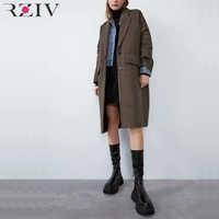 RZIV Autumn and winter women's coat casual plaid pocket decorative coat