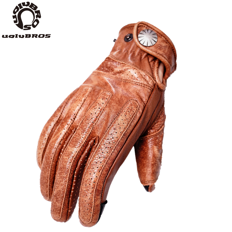 Uglybros 5 Colors Sheepskin Motorcycle Motorbike Gloves Touch Screen Motor Gloves Unisex Leather Protection Glove SIZE : S-2XL
