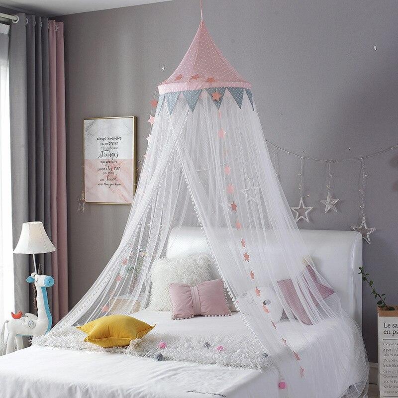 Chambre bébé moustiquaire enfant lit rideau auvent rond berceau filet lit tente baldaquin décoration filles chambre accessoires