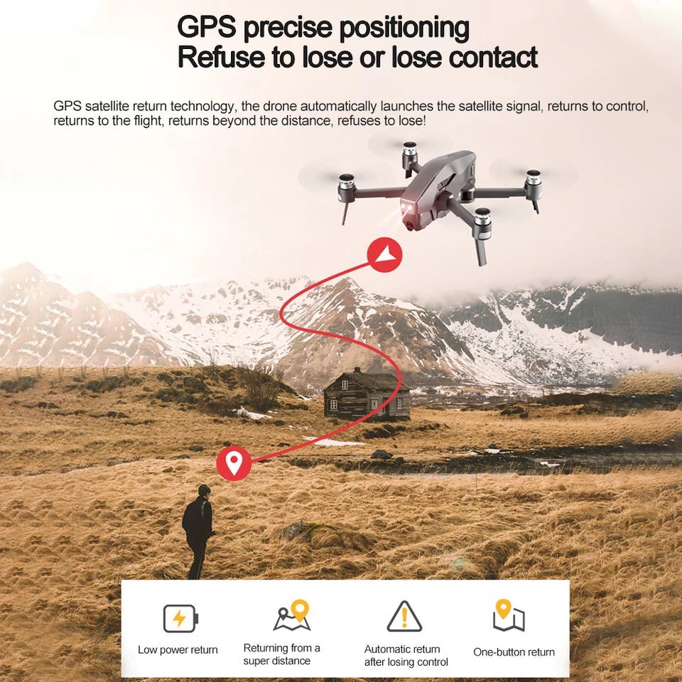 Brushless Drone GPS Quadcopter HD 4K 1080P 5G WIFI FPV 1.6KM Control Distance Flight 30minutes RC Helicopter Professional Drone