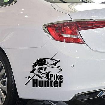 Pike Hunter Fishing Hood Tailgate Side Window Decal Car Truck Sticker Decoration image