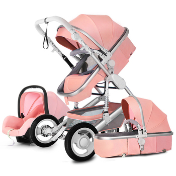 Luxury Baby Stroller High Landscape Baby Stroller 3 in 1 Travel Pram Trolley Baby Carrier Carriage Stroller with Car Seat image