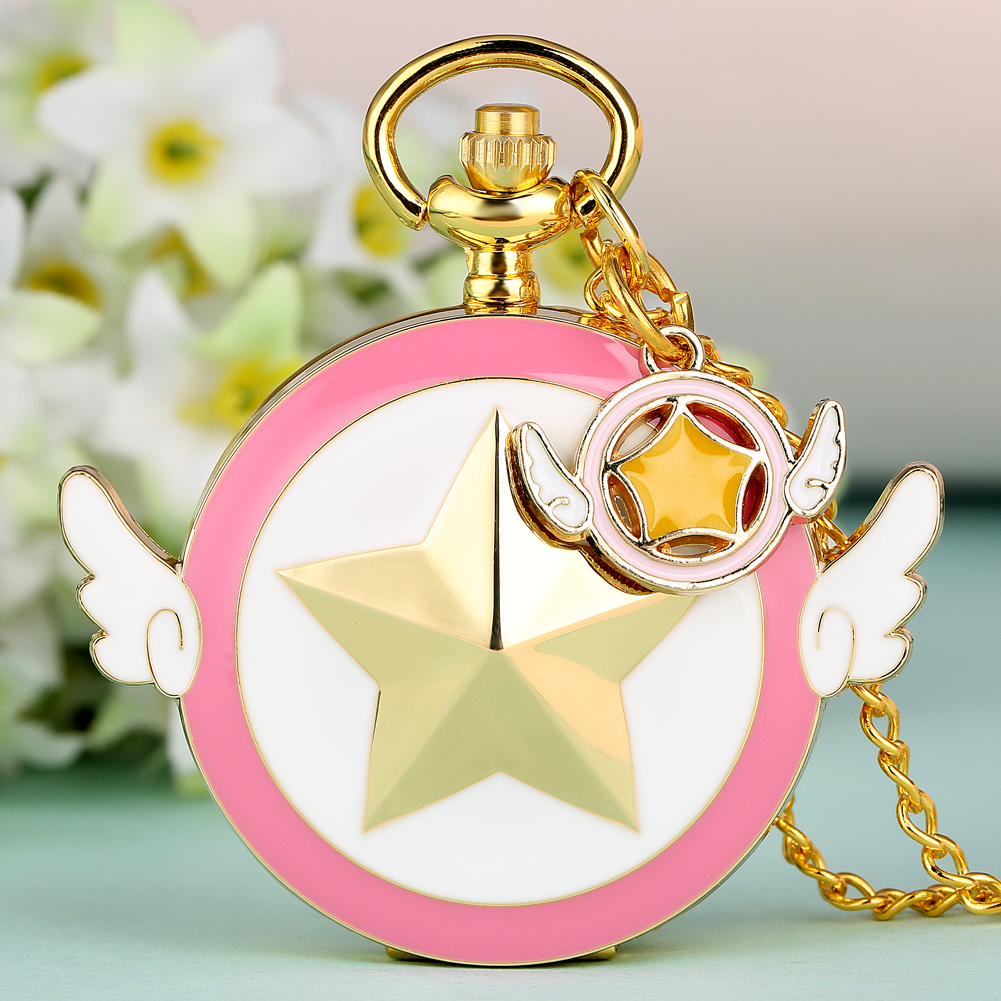Lovely Magic Girl Sakura Anime Theme Pocket Watches Japan Cartoon Cosplay Gold Pendant Clock Necklace Chain Girls Lady Gifts